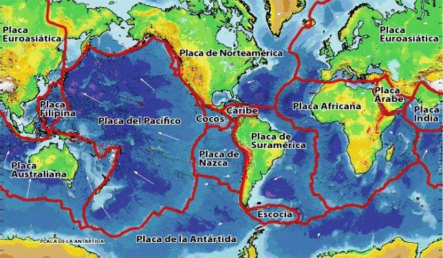 Mapa de placas tectónicas